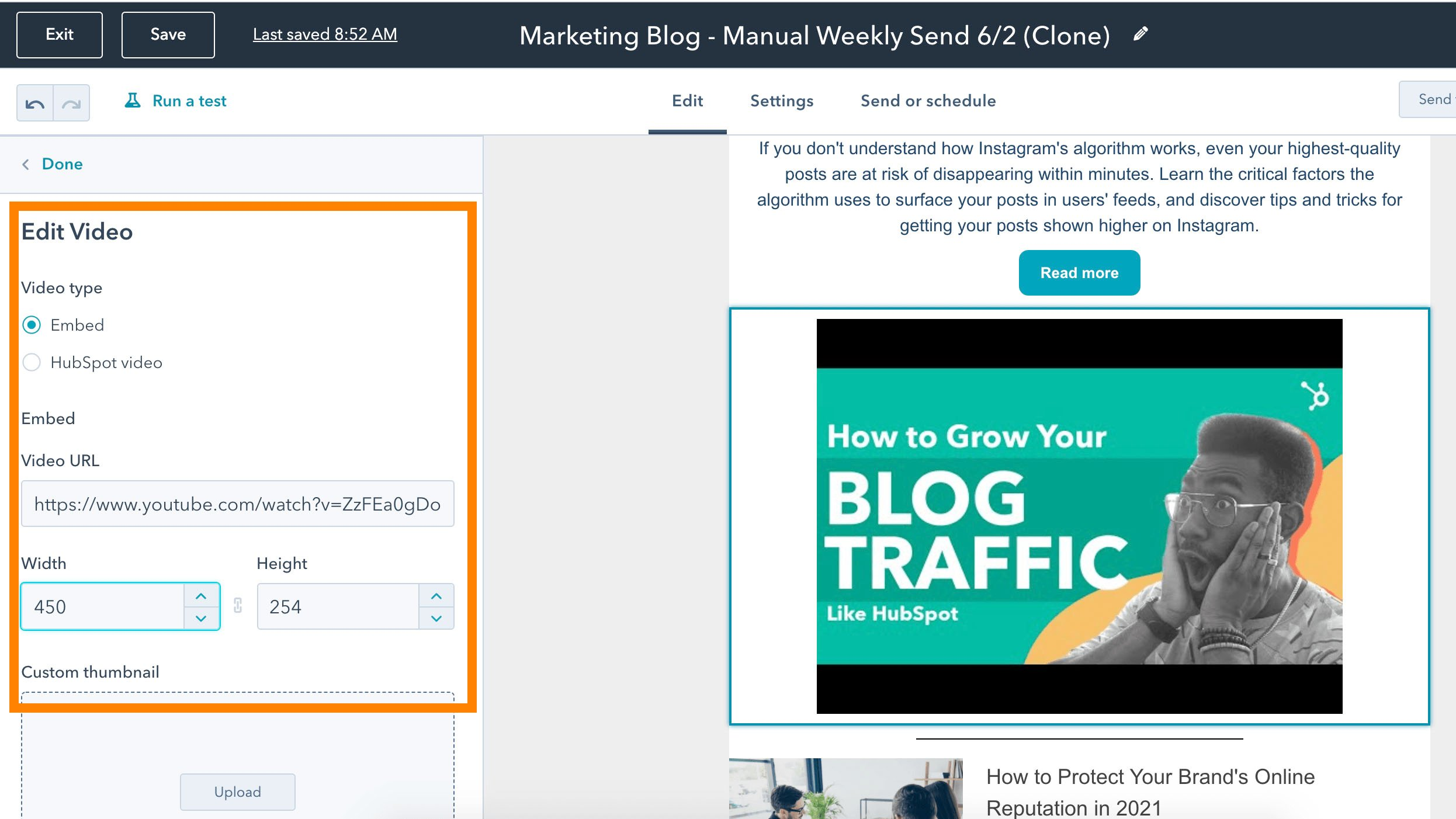 Editing a video to add to a HubSpot email copy